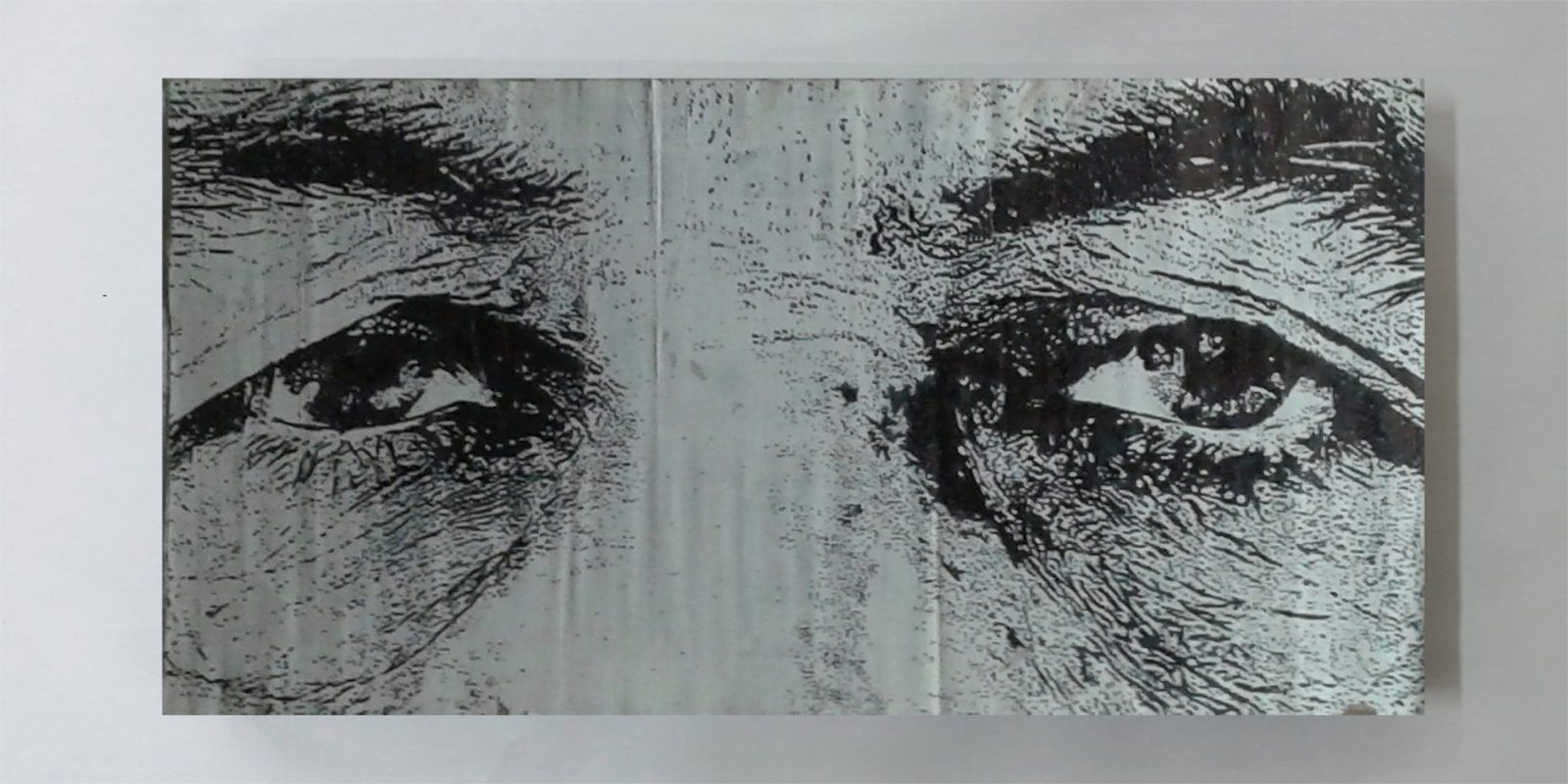 Portrait, Portraiture, Realism, Contemporary Art | Dimensions: 200 x 100 cm. | Technique: Mixed Media | Over Painted Paper [Verso]. | Supporting Material: Paper. | Materials: Acrylic Paint | Chinese Ink | Spray Paint | Marker | Tape | Paper. | Recto: As seen in the photo. | Verso: Black.