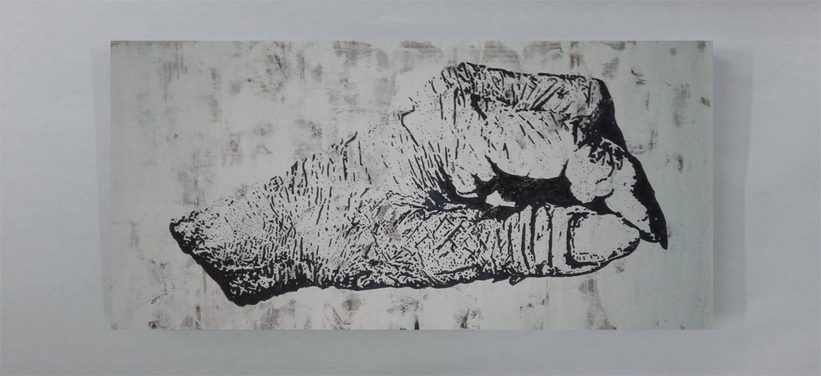 Hand, Nature Morte, Realism, Contemporary Art | Dimensions: 100 x 200 cm. | Technique: Mixed Media | Over Painted Collage [Verso]. | Supporting Material: Paper. | Materials: Acrylic Paint | Chinese Ink | Spray Paint | Marker | Tape | Paper.Recto: As seen in the photo aka Work in Progress.Verso: White.